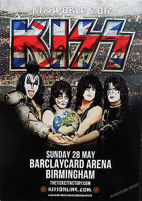 KISS 2017 Gig FLYER UK Promo Only 2-Sided Glossy Mint May Birmingham