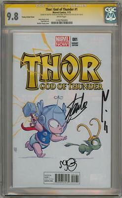 THOR #1 BABY CGC 9.8 SIGNATURE SERIES SIGNED x3 STAN LEE SKOTTIE YOUNG MOVIE