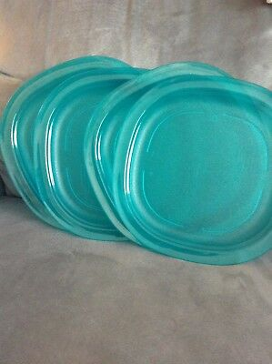 "Tupperware Square Aqua Dishes 9 1/2"" X 9 1/2 Microwaveable - Used Set Of 4"