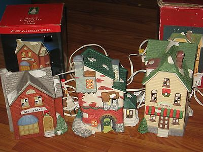 New Lot Set 3 Christmas Village Tavern Bar Doctor Toy Store Lighted Starter Pack