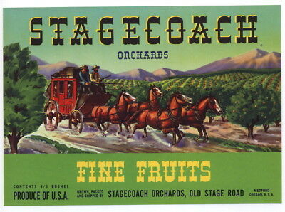 STAGECOACH Vintage Pear Crate Label, green, Western, Cowboy, *AN ORIGINAL LABEL*