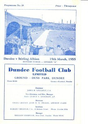 DUNDEE v Stirling Albion, 19th March 1955, Scottish League Division A