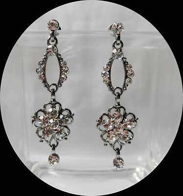 Vintage Style Flower Dangle Earrings with Clear Australia Crystals  E1218