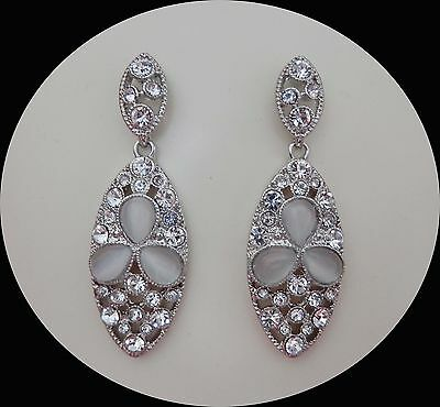 Vintage Stylish Dangle Earrings with Clear Australia Crystals E1347