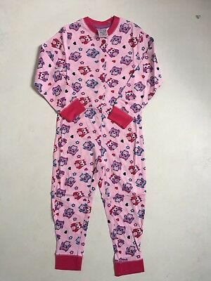 Ex Chainstore Girls Cotton Owl All In One Pyjamas Size 3-4 Only
