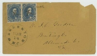 Mr Fancy Cancel CSA 4 DK BLUE COVER WARRENTON NC + LETTER  ABOUT DOC EX-KAUFMANN