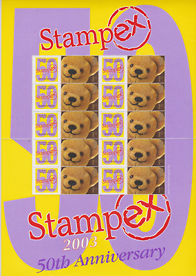 2003 Royal Mail Stampex Smilers 50 Anniversary Teddy Bear  Stamp Sheet 1st Class