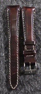 NOS Vintage Zenith Genuine Leather Brown/Burgundy 15mm Watch Band with Buckle