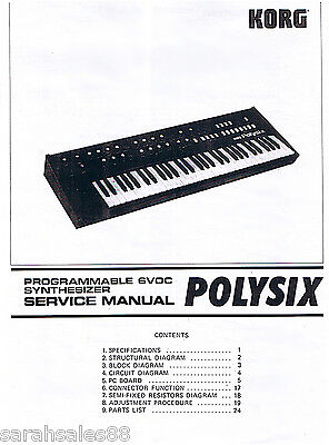 Service Manual for KORG POLYSIX Synth Parts, Adjustments, Disassembly, Diagrams