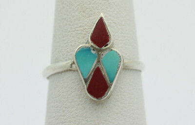 Sterling Silver .925 Small Art Deco Turquoise & Coral Design Ring Sz 5 1.2g I51