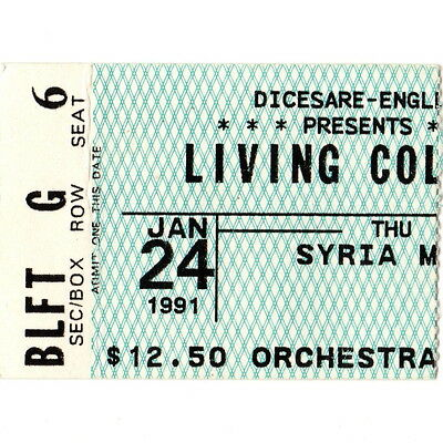 LIVING COLOUR Concert Ticket Stub PITTSBURGH PA 1/24/91 SYRIAN MOSQUE