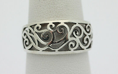 Sterling Silver .925 Vintage Swirl Punch Out Design Band Ring Sz 8 3g H624