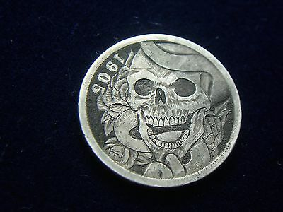 1905 V - hobo nickel - ROSE & SKULL