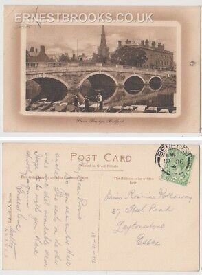 Early Postcard, Bedfordshire, Bedford, The Stone Bridge, People Outside, 1914