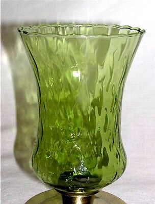 2 Home Interiors Homco Varied Greens Stretch Diamond Votive Candle Sconce Cups