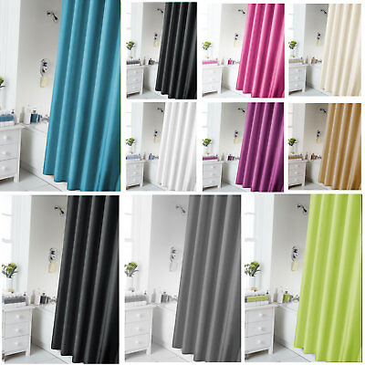 Plain Fabric Polyester Bathroom Shower Curtain With Matching Rings 180 x 180cm