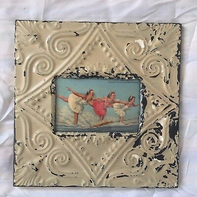 Vintage 1890's Antique Ceiling Tin Picture Frame 4 x 6 Anniversary Green 482-17