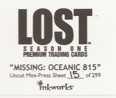 "Lost Season 1 - ""Missing: Oceanic 815"" Sealed Uncut Sheet #15/299"