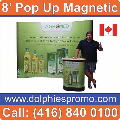 Trade Show 8' Pop Up Magnetic Booth Display PACKAGE + GRAPHICS + PODIUM + LIGHTS