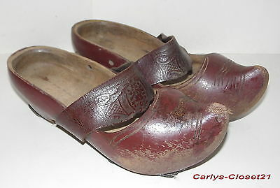 ANTIQUE FRENCH WOODEN GALOCHES / CLOGS * Hand Carved Sabots * Wood / Leather *