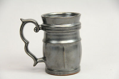Antique Silver Luster Tankard Mug English Red Clay Pottery Excellent Condition