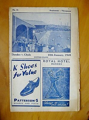 DUNDEE v CLYDE 1947/1948 *Good Condition Football Programme*