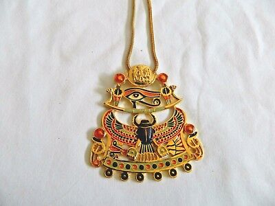 """X-Large Egyptian Metal Gold Plated Multi-Color Eye Horus Scarab Necklace 3""""X3"""""""
