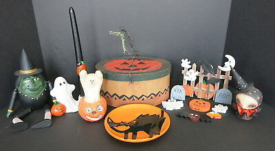14 Pc Decorative Halloween Lot Ghost Candle Cat Plate Witch Wooden Ghosts More