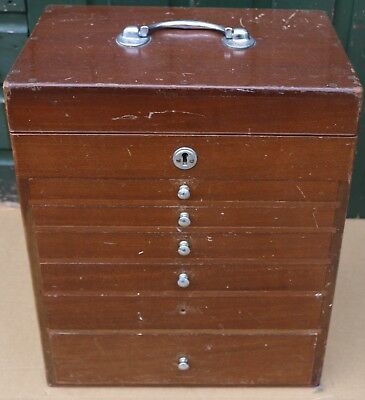 Old Wooden 6 Drawer Dentist Chest With Lift Up Lid And With Stuff Still In & Key