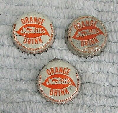 Three Old Nesbitts Vintage Soda Pop Bottle Caps FREE S/H