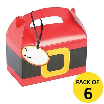 Christmas Xmas Santa Treat Favour Boxes With Gift Name Tags Pack Of 6