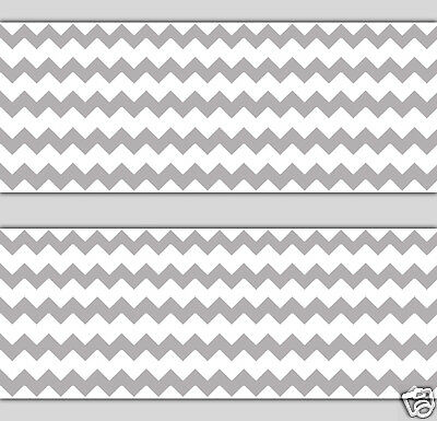 Gray Grey Chevron Wallpaper Border Wall Art Decals Baby Nursery Room Stickers
