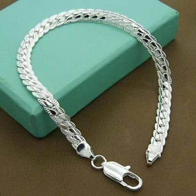 925 Solid Silver Bracelet Jewelry Women Snake Chain Bangle Valentine's Day Gift