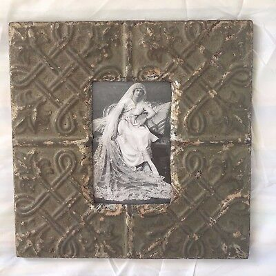 Vintage 1890's Antique Ceiling Tin Picture Frame 4 x 6 Anniversary Taupe 489-17