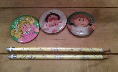 Lot of 3 Vintage 1980s Cabbage Patch Kids Buttons Pins Badges and 2 Pencils