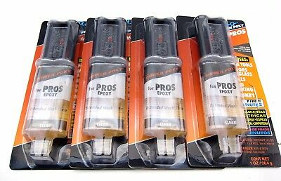 4 NEW Power Poxy Syringe Pros Epoxy Wood Metal Plastic Glass Ceramic Glue