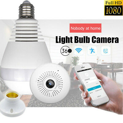 360degree 1080P Panoramic Hidden IR Camera Light Bulb Wifi FishEye CCTV Security