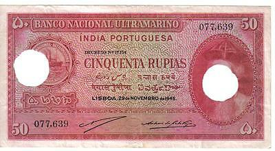 PORTUGAL , PORTUGUESE  INDIA, 50 RUPIAS, punched holes cancelled,1945