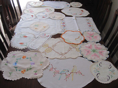 Lot Of 20 Vintage Hand Worked Embroidered Doilies ~ To Use ~ For Craft #2
