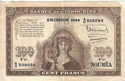 FRENCH NEW CALEDONIA, 100 FRANCS, ovpt. EMISSION 1944