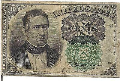 US, 10 CENTS, FRACTIONAL CURRENCY,Meredith, GREEN seal,SERIES 1874/1875 ,RARE