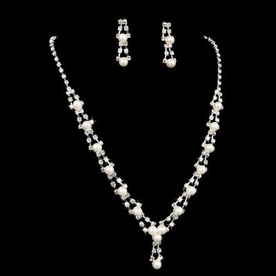 Bridal Wedding Crystal Pearl Rhinestones Diamante Necklace Earrings Set