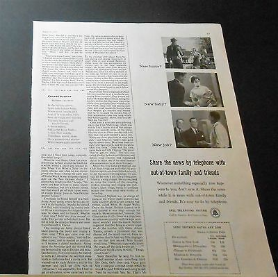 1957 Bell Telephone Long Distance Phone Rates Ad New Home? Baby? Job?