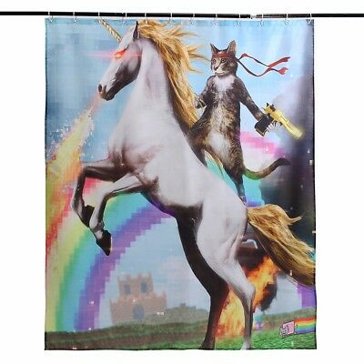 Funny Unicorn and Cat Polyester Fabric Waterproof Shower Curtain & 12 Hooks