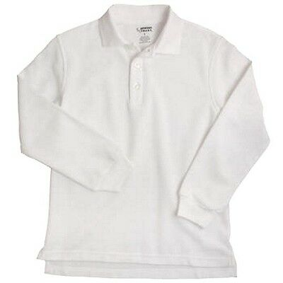 White Long Sleeve Polo Shirt 4 Unisex French Toast School Uniforms New
