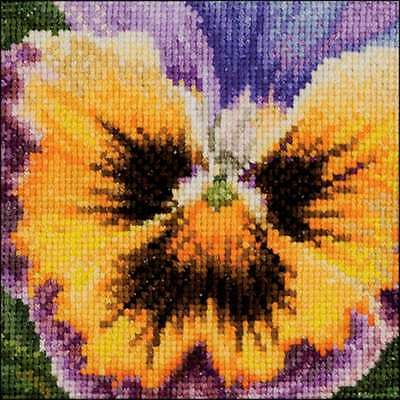 """Pansy On Aida Counted Cross Stitch Kit 3.75""""X3.75"""" 18 Count 499994661913"""