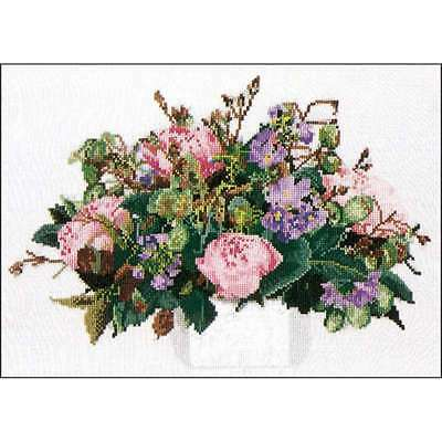 """Peonies On Aida Counted Cross Stitch Kit 11.75""""X15.75"""" 16 Count 499994658852"""