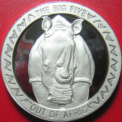 "2002 Uganda 5000 Shillings Silver Proof Rhino Rhinoceros Deep Cameo ""big Five"""