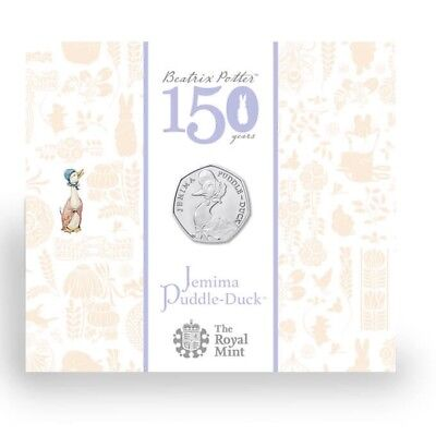 Jemima Puddleduck 50p Fifty Pence Coin Royal Mint Pack In Sealed Bag BUNC New