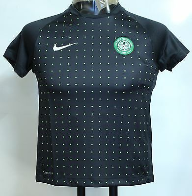 Celtic F.c S/s Black Training Shirt By Nike Size Medium Boys Brand New With Tags